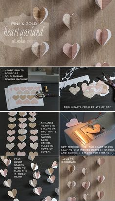 Heart Garland Tutorial - free printable of hearts. They are so pretty, you could use them for lots of other things.