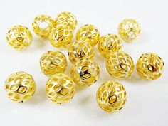 8mm Gold Plated Round Filigree Beads Spacers  15 by LylaSupplies, $4.00