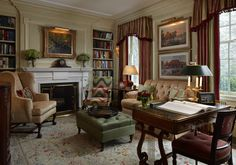 Perfect......love the seating and ottoman, gorgeous library desk, delicious striped curtains, artwork, fireplace with built-ins (Scott Snyder Inc. Greenwich, CT home project)