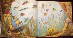 """""""I'm so happy I'm finally finished with this. From Johanna Basford's Lost Ocean…"""