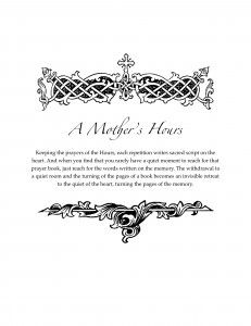 A Mother's Hours: a prayer book for praying the hours, courtesy of Evlogia. PDF download
