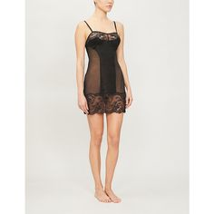 La Perla Brigitta Lace-panel Stretch-woven Chemise In Black Lacy Lingerie, Mesh Skirt, Keep Your Cool, World Of Fashion, Stretches, Special Occasion, Shapes, Running, Night
