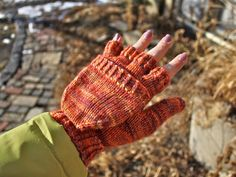 """""""Chilly Podsters"""" fingerless gloves knitting pattern that can turn into full mittens"""