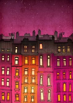 Pink Parisian city buildings - perfect for little girls room