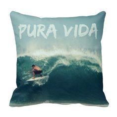 Costa Rica Surfer Pura Vida Pillow #puravida #costarica