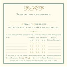Brambles Wedding Stationery - RSVP Cards