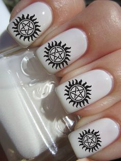 would it be totally awkward to do my nails with these for the season premier? #supernatural  Supernatural Nail Decal  42 Per Purchace by PineGalaxy on Etsy, $4.50
