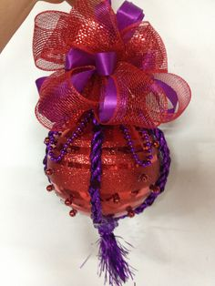 Christmas ball Large purple and red Christmas ball by Shari Christmas Balls, Christmas Wishes, Red Christmas, All Things Christmas, Christmas Ideas, Purple Christmas Decorations, Christmas Colors, Red Hat Ladies, Hat Decoration
