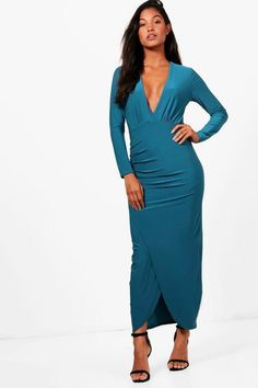 d631f2ae8cdb9e Boohoo Shannon Slinky Wrap Maxi Dress Teal Size UK 14 rrp 22 DH180 RR 12  #fashion #clothing #shoes #accessories #womensclothing #dresses (ebay link)