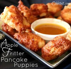 Apple Fritter Pancake Puppies with Maple Butter Dip. Looks like yummy food crack! Breakfast Pancakes, Pancakes And Waffles, Breakfast Dishes, Breakfast Time, Breakfast Recipes, Breakfast Ideas, Birthday Breakfast, Second Breakfast, Pancake Recipes
