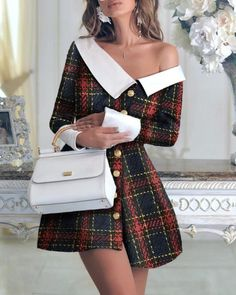 chicme / Colorblock Long Sleeve One Shoulder Buttoned Dress - Colorblock Long Sleeve One Shoulder Buttoned Dress Source by - Cute Dresses, Casual Dresses, Fashion Dresses, Dresses For Work, Dresses Dresses, Fall Dresses, Long Dresses, Formal Dresses, Looks Chic
