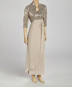 Look what I found on #zulily! Champagne Sequin Scoop Neck Gown & Shrug - Women #zulilyfinds