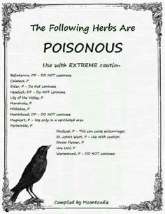 Poisonous herbs                                                                                                                                                                                 More