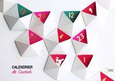 DIY : un calendrier de l'avent géométrique - Madame Citron - Création de cake-topper et faire-part de mariage