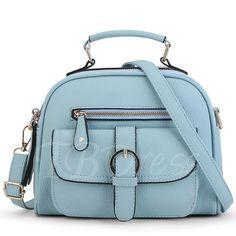 Pure Color Zipper Square Handbag