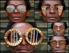 Cyrus Kabiru is a self-taught artist who lives in Nairobi. He uses recycled materials to make humorous performative objects like these glasses.