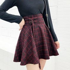 Buy Plaid Grid Burgundy High Waisted School Skirt with a discount. Shop for Aesthetic Clothing & Accessories, eGirl Outfits, Soft Girl Apparel, Grunge & Vintage clothes, Artsy / Art Hoe Stuff Fall Fashion Outfits, Edgy Outfits, Cute Fashion, Spring Outfits, Cool Outfits, Autumn Fashion, Amazing Outfits, Fashion Ideas, Cute Skirt Outfits