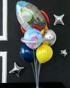 See my other lists for space party decorations. 9th Birthday Parties, 12th Birthday, Birthday Party Decorations, Rainbow Balloon Arch, Kindergarten Party, Astronaut Party, Outer Space Party, Airplane Decor, Space Rocket