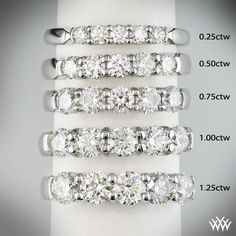 What Your Wedding Band Looks Like (Break down by Carat Weight) http://www.whiteflash.com/wedding-bands/five-stone-shared-prong-diamond-wedding-band-813.htm #whiteflash #verragio