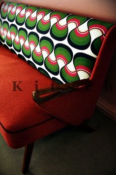 Red Hot Sofa with Retro Graphic Upholstery 1950s