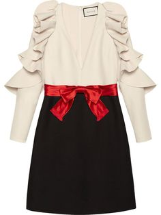 GUCCI Silk Wool Dress With Sculpted Sleeves. #gucci #cloth #sleeves
