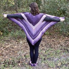 Striped Granny Stitch Caron Cakes Triangle Shawl - free pattern by The Snugglery on Colorful Christine