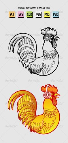 Rooster Listening Music Illustration by Lo-GoQu Black & white, color rooster drawing illustration. Good use for your music symbol, logo, or any design you want. Easy to edit. Music Illustration, Coffee Logo, Symbol Logo, Menu Design, Tattoo Art, Flyer Template, Puppet, Sketchbooks, Drawing Ideas