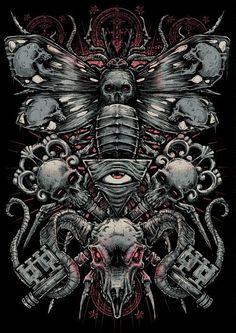 The Art of Godmachine Dark Artwork, Metal Artwork, Vampires, Arte Zombie, Crane, Satanic Art, Beautiful Dark Art, Stoner Art, Skeleton Art