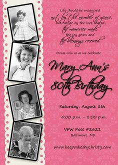 Custom Birthday Invitation 30th 40th 50th by keepsakesbychristy, $10.95