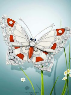 High Jewelry winged jewels blossom to celebrate springtime Van Cleef & Arpels Genre Papillon Pavonia clip - white gold, diamonds, sapphires, coral, white mother-of-pearl. Van Cleef Arpels, Van Cleef And Arpels Jewelry, Insect Jewelry, Butterfly Jewelry, Animal Jewelry, Luxury Cosmetics, Beautiful Bugs, High Jewelry, Gold Jewelry