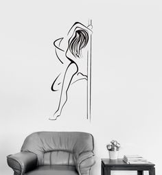 Vinyl Decal Striptease Pole Dance Night Club Sexy Woman Wall Stickers Mural (ig2664)