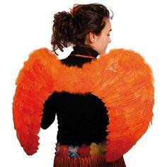 Oranje Vleugels met Veren 80x56 cm.