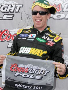 Carl Edwards celebrates his spring 2011 NASCAR Sprint Cup Series Pole ... Fresh Prince of Bel-Air style. [Image | Mike Finnegan]