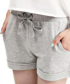 Drawstring Waist Sport Grey Shorts with Rolled Cuffs  from Chicnova
