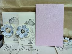 Gold mist, Ana Griffin embossing folder, Cricut flowers..