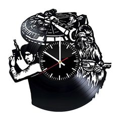 Space Heroes Design Wall Clock Made From Used Vinyl Record  Get unique kids room or living room wall decor  Gift ideas for adults teens and youth  Fantasy Movie Unique Fan Art -- Continue to the product at the image link. Note: It's an affiliate link to Amazon