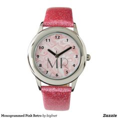 Monogrammed Pink Retro Wrist Watch