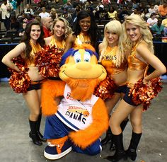 The Jacksonville Giants mascot and cheerleaders are always ready for a basketball game.