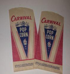 2 carnival popcorn bags 1950's paper sacks red blue lot NOS Vintage paper art supplies ephemera mixed media scrapbook