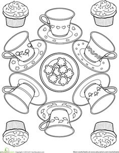 First Grade Mandalas Worksheets: Teacup Coloring Page