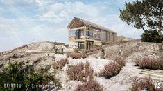 KRÅKO SJØHYTTEOMRÅDE: Moderne og arkitektteikna fritidsbustad i samspel med landskapet. Cabin, House Styles, Cabins, Cottage, Wooden Houses