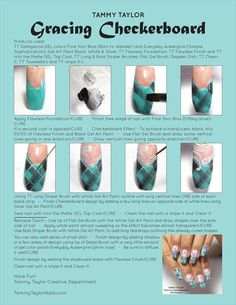 ♥ Tammy Taylor Gracing Checkerboard Nail Design Step by Step Girls Nail Designs, Nail Polish Designs, Nail Art Designs, French Fade Nails, Faded Nails, Tammy Taylor Nails, Nail Tutorials, Design Tutorials, Girls Nails