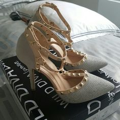 Wild Diva 7.5 silver and grey studded heels Worn once Excellent condition Like new Studded front and straps Wild Diva Shoes Heels