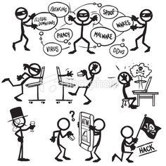 Stickfigure Hacking Royalty Free Stock Vector Art Illustration
