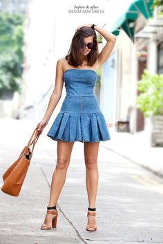 Diy Blue Denim Off Shoulder Pleated Mini Skater Dress
