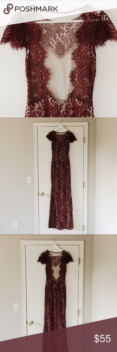 Elegant Lace dress BEAUTIFUL wine/deep maroon lace gown/long dress. Netting over the back. Zipper on side. Plenty of stretch. Hemmed only 1 inch. In excellent condition. Tag removed. Dresses Maxi