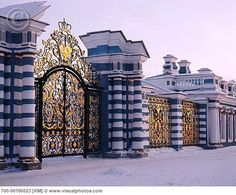 Gates to The Catherine Palace in St.Petersburg. (Catherine ll, the Great) Summer home of the tzars.