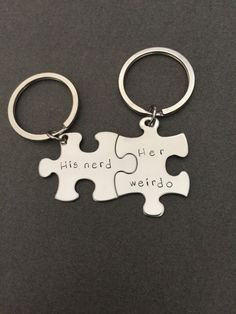 His Nerd Her Weirdo keychains, Geek Gift, Geek Boyfriend Girlfriend Gift, personalized puzzle keychains, couples keychains, couples gift,