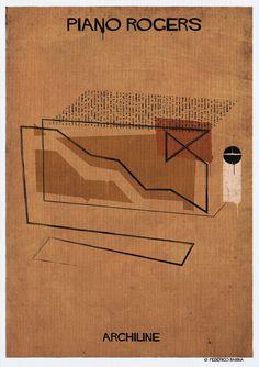 """ARCHILINE: Algumas das maiores obras da arquitetura em """"poucas linhas"""",© Federico Babina"""