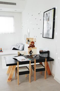 Our black and white storage sack at project Playroom Organization, Minimal Decor, Baby Kids, Kids Room, Room Ideas, Essentials, Room Decor, Desk, Homes